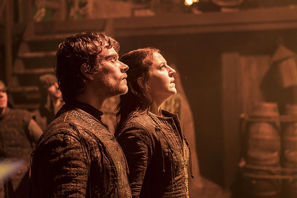 <p>Alfie Allen as Theon Greyjoy and Gemma Whelan as Yara Greyjoy in HBO's <i>Game of Thrones</i>.<br /><br />(Photo Credit: Helen Sloan/courtesy of HBO) </p>