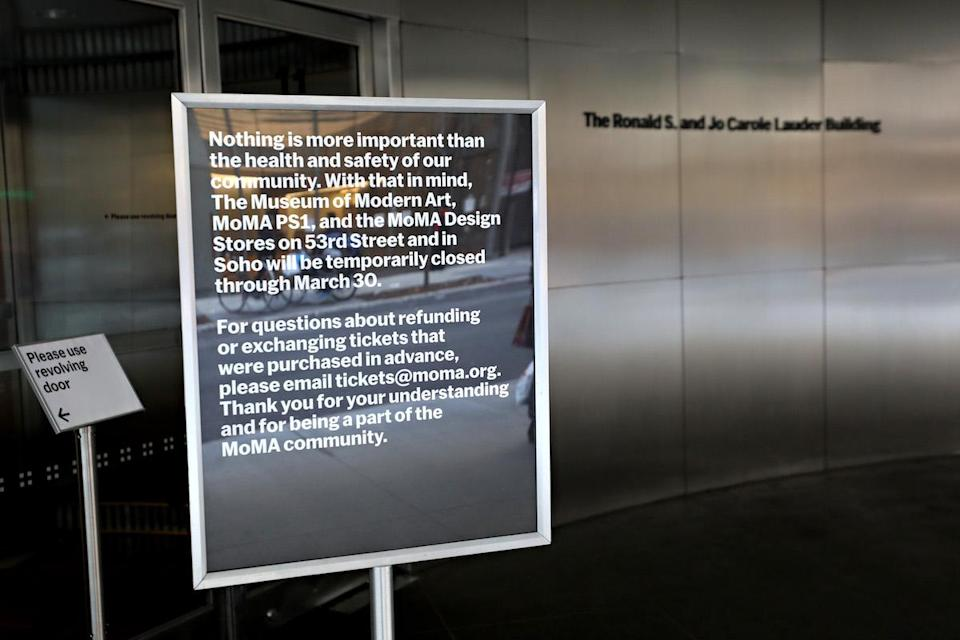 A closed sign outside of  Museum of Modern Art on March 13, 2020 in New York City. Due to the ongoing threat of the coronavirus (COVID-19) outbreak in the United States, many events have been canceled. (Photo by