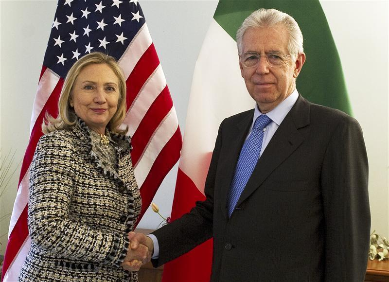 Mario Monti incontra Hillary Clinton in preparazione al meeting con Obama