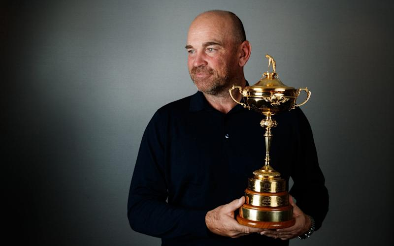 European Ryder Cup captain Thomas Bjorn with the Ryder Cup Trophy - PA