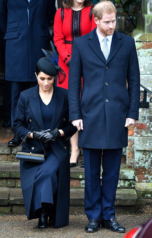 """The Duchess of Sussex showed off her <a href=""""https://people.com/royals/meghan-markle-curtsy-queen-elizabeth-christmas/"""">perfected cursty</a> the following year at Christmas."""