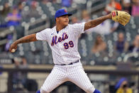 New York Mets starting pitcher Taijuan Walker throws during the fifth inning of a baseball game against the Washington Nationals at Citi Field, Sunday, April 25, 2021, in New York. (AP Photo/Seth Wenig)