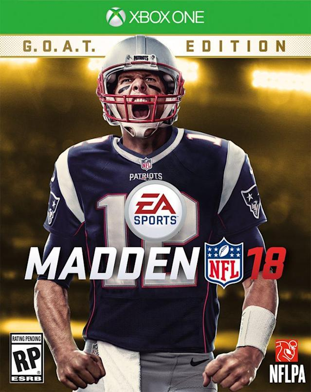 "<a class=""link rapid-noclick-resp"" href=""/nfl/players/5228/"" data-ylk=""slk:Tom Brady"">Tom Brady</a> is on the ""Madden NFL 18"" cover. (Photo courtesy of EA Sports)"