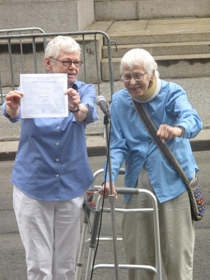Phyllis Siegel, 76, right, and wife Connie Kopelov, 84.  Phyllis and Connie were the first same-sex couple to be married in New York City.  They have been together for 23 years.  Joao Costa/Yahoo! News