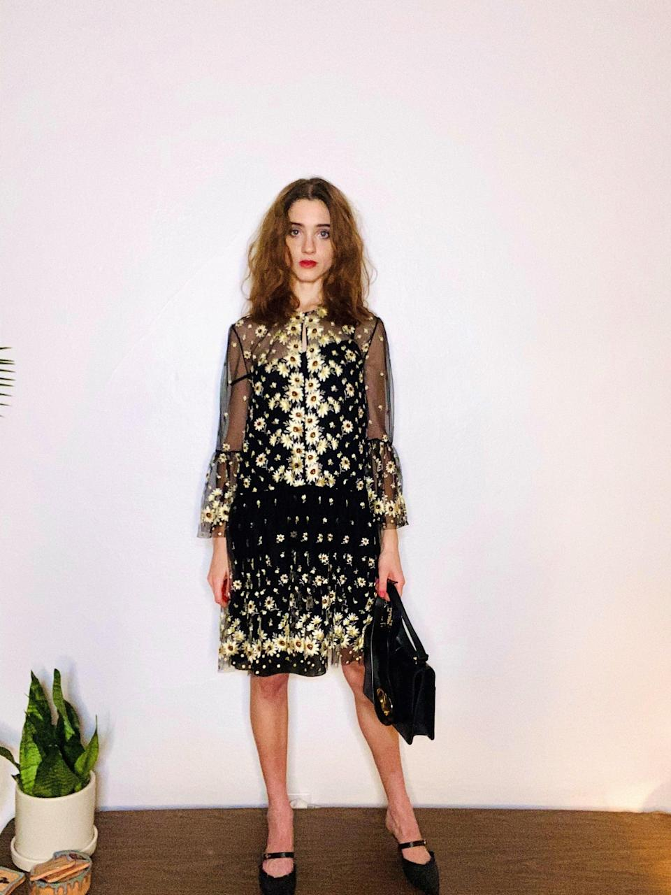 <h2>Natalia Dyer, Dior</h2><br><em>Stranger Things</em> star Natalia Dyer is no stranger to Paris Fashion Week. In fact, Dyer and her boyfriend-slash-co-star Charlie Heaton are regulars at shows from Fendi to Dior. This season, of course, they both stayed home, but, in the name of fashion, Dyer still put together a 10/10 Dior 'fit, which included tiny daisy appliques and Mary-Janes.