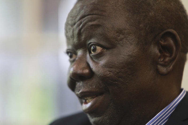 FILE -- In this Nov. 30, 2016 file photo, Zimbabwe's main opposition leader Morgan Tsvangirai is photographed during an interview with the Associated Press in Harare. Zimbabwe opposition leader Morgan Tsvangirai has died at age 65, party spokesman said on Wednesday, Feb. 14, 2018. (AP Photo/Tsvangirayi Mukwazhi, File)