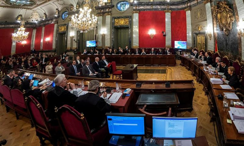 The 12 separatist leaders sit at their trial at the Spanish supreme court in Madrid
