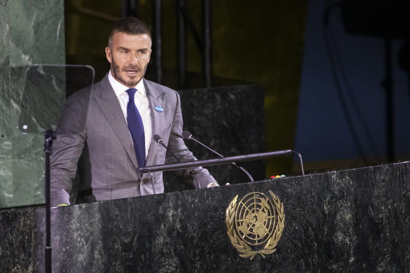 UNICEF Goodwill Ambassador David Beckham addresses a High-level meeting on the occasion of the 30th anniversary of the adoption of the Convention on the Rights of the Child, Wednesday, Nov. 20, 2019 at United Nations headquarters. (AP Photo/Mary Altaffer)