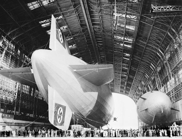 <p>A view of some of the crowds of visitors who viewed the Zeppelin Hindenburg in the hanger at Lakehurst, New Jersey, May 10, 1936. (Planet News Archive/SSPL/Getty Images) </p>
