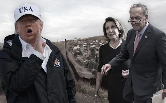 Donald Trump, border wall between Arizona and Mexico, Nancy Pelosi, Chuck Schumer. (Yahoo News photo illustration; photos: Evan Vucci/AP, Susan Schulman/Barcroft Images/Barcroft Media via Getty Images, J. Scott Applewhite/AP, Tom Williams/CQ Roll Call/Getty Images)