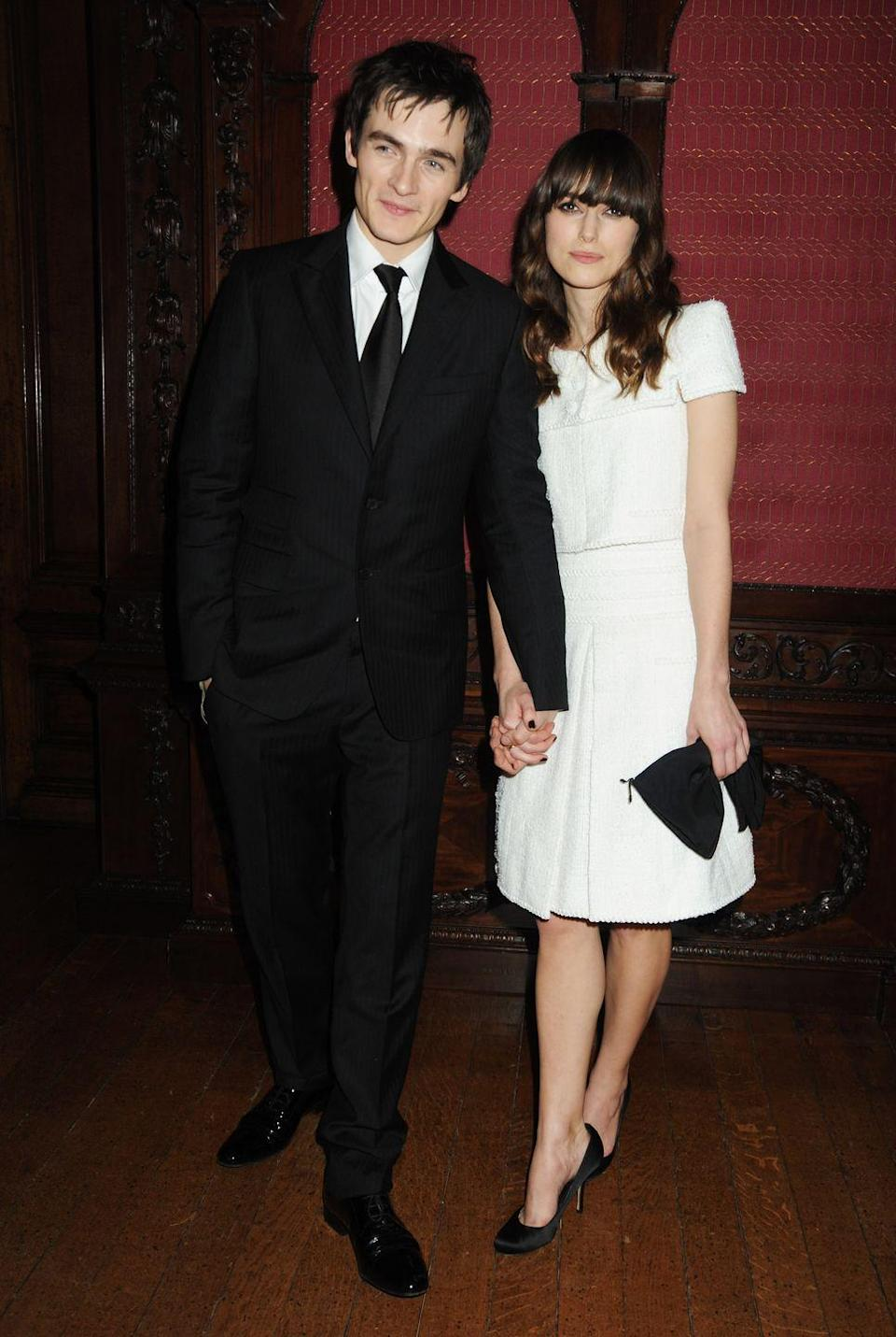 """<p>Pride and Prejudice co-stars Keira Knightley and Rupert Friend <a href=""""https://www.marieclaire.co.uk/news/celebrity-news/keira-knightley-and-rupert-friend-end-five-year-relationship-225552"""" rel=""""nofollow noopener"""" target=""""_blank"""" data-ylk=""""slk:started dating while shooting the 2005 film"""" class=""""link rapid-noclick-resp"""">started dating while shooting the 2005 film</a>. The item never walked a red carpet together, and Rupert evidently hated the paps. That reportedly led to the couple's breakup in 2010, which Keira's <a href=""""https://people.com/celebrity/keira-knightley-and-rupert-friend-break-up/"""" rel=""""nofollow noopener"""" target=""""_blank"""" data-ylk=""""slk:dad confirmed in early 2011"""" class=""""link rapid-noclick-resp"""">dad confirmed in early 2011</a>. </p>"""