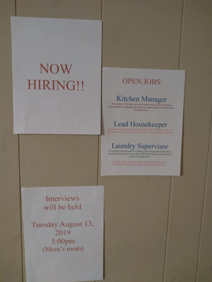 Shaketha Marion McGregor posted a listing for open positions including kitchen manager, lead housekeeper and laundry supervisor. (Credit: Facebook/Shaketha Marion McGregor)