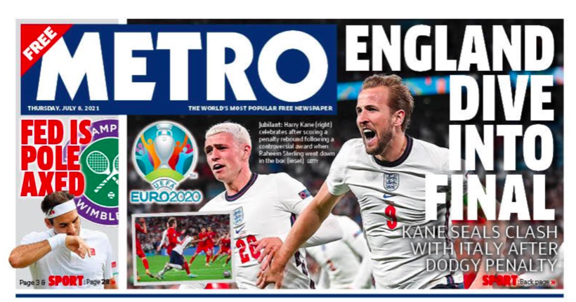 The Scottish Metro said that victory for England was down to a 'dodgy penalty'.
