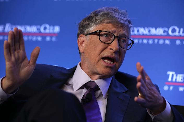 WASHINGTON, DC - JUNE 24:  Microsoft principle founder Bill Gates participates in a discussion during a luncheon of the Economic Club of Washington June 24, 2019 in Washington, DC. Gates discussed various topics including climate change.  (Photo by Alex Wong/Getty Images)