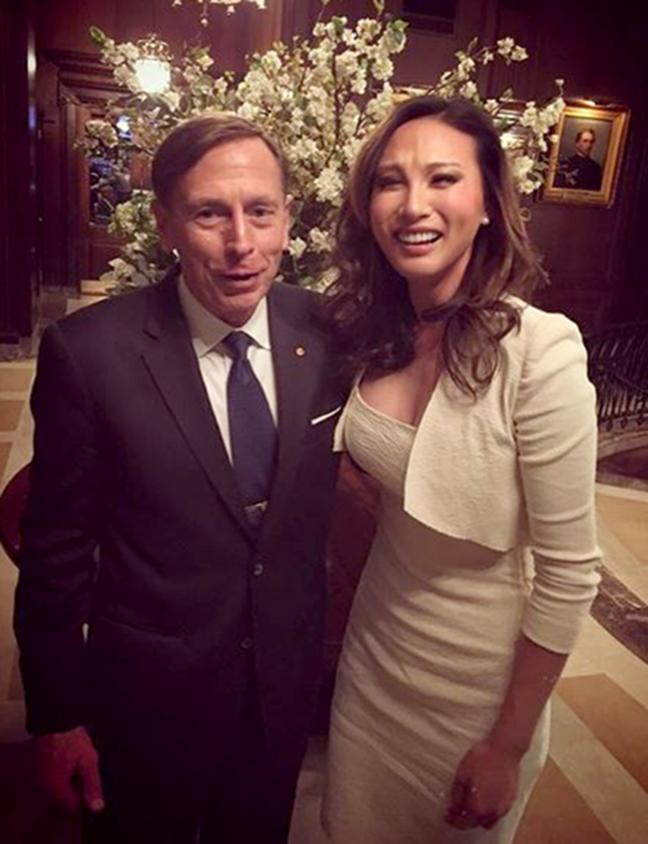 Image: Mina Chang and former CIA director David Petraeus in a 2017 Instagram photo.