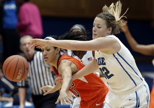Duke's Tricia Liston, right, and Virginia Tech's Lauren Evans chase a loose ball during the second half of an NCAA college basketball game in Durham, N.C., Wednesday, Jan. 16, 2013. Duke won 58-26. (AP Photo/Gerry Broome)