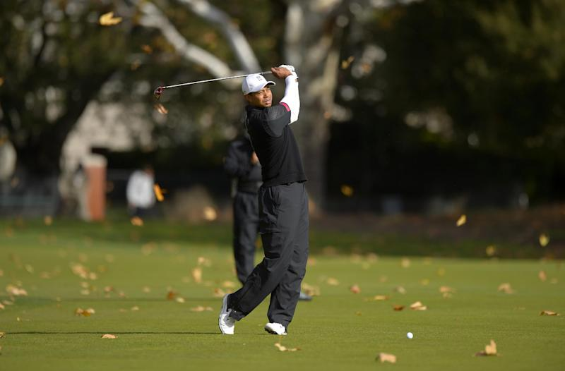 Tiger Woods takes a practice swing on the fifth hole as leaves fall around him during the third round of the Northwestern Mutual World Challenge golf tournament at Sherwood Country Club, Saturday, Dec. 7, 2013, in Thousand Oaks, Calif. (AP Photo/Mark J. Terrill)