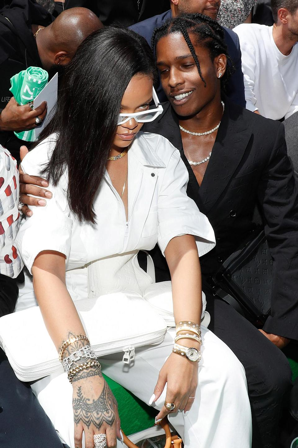<p>Doesn't our charming couple look so chic? The two donned a more elegant set of outfits that reflected a relaxed form of suiting on Rihanna and a more traditional idea of a suit on Rocky at a 2018 fashion show in Paris.</p>