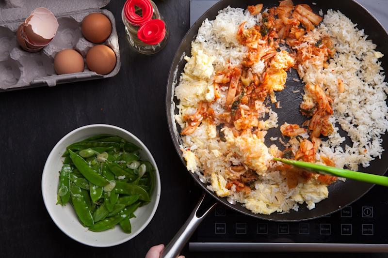 A few gentle tosses (and a lot of sizzle) is all this fried rice needs.