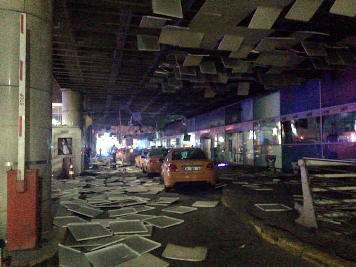 <p>An entrance of the Ataturk Airport in Istanbul after explosions, Tuesday, June 28, 2016. Two explosions have rocked Istanbul's Ataturk airport, killing at least 10 people and wounding around 20 others, Turkey's justice minister and another official said Tuesday. (DHA via AP) </p>