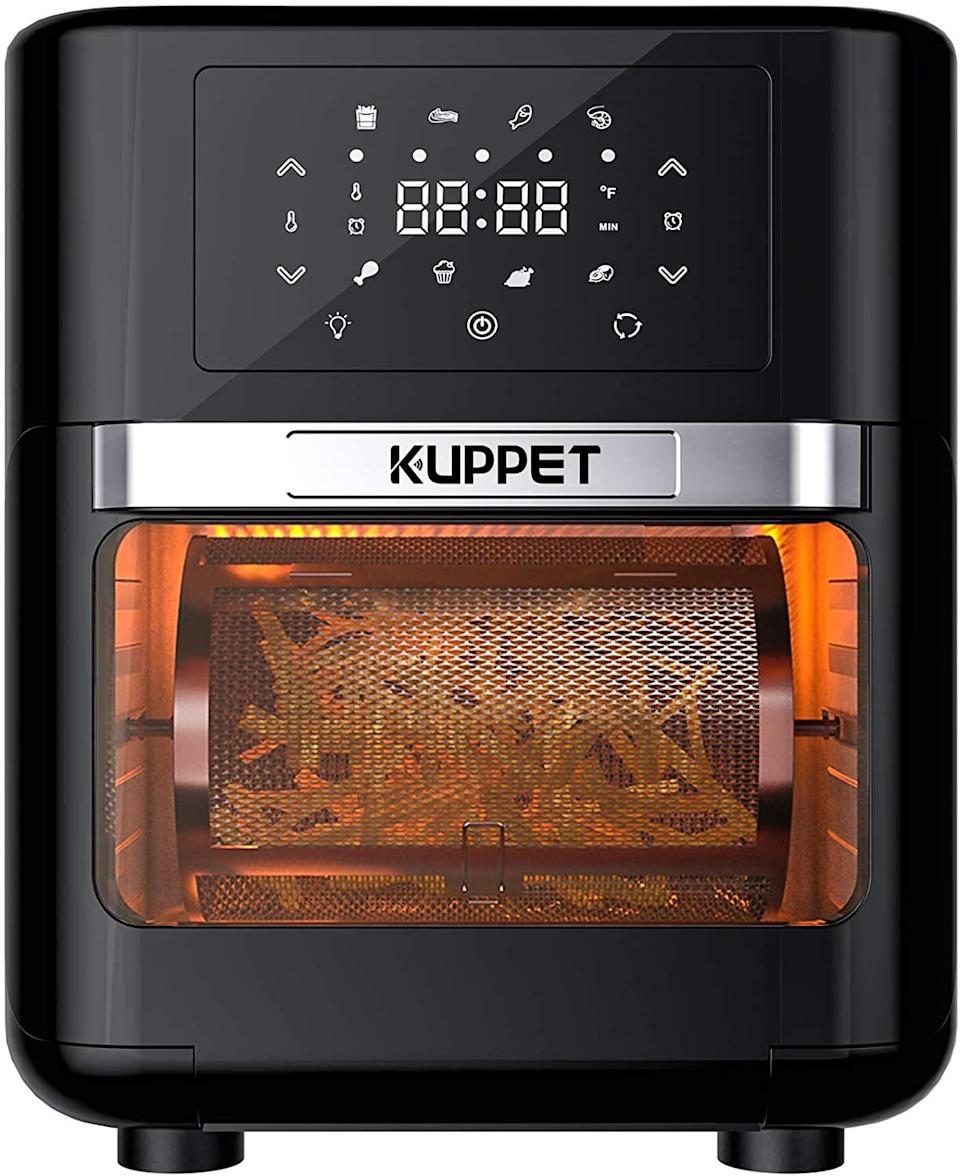 "<h2>22% Off KUPPET Air Fryer Oven</h2><br>Air fryers continue to be all the rage in the trending kitchen-gadget department — and this currently on-sale device boasts 8-in-1 capabilities that extend far beyond air frying. KUPPET's countertop oven serves as everything from a dehydrator to a rotisserie, pizza grill, toaster, and more. <br><br><strong>KUPPET</strong> Air Fryer Oven, 10.7 Quarts, $, available at <a href=""https://amzn.to/2Jv51Rs"" rel=""nofollow noopener"" target=""_blank"" data-ylk=""slk:Amazon"" class=""link rapid-noclick-resp"">Amazon</a>"