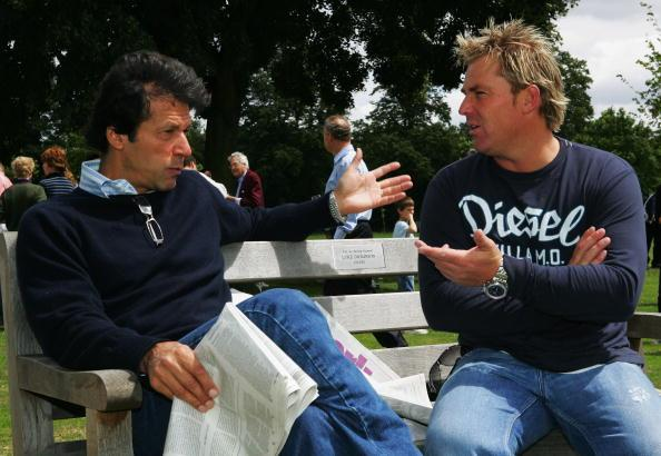 KINGSTON UPON THAMES, UNITED KINGDOM - JULY 14:  Imran Khan talks to Shane Warne at the HACAN Charity Cricket Match on Ham Common on July 14, 2007 in Kingston upon Thames, London.  (Photo by Clive Rose/Getty Images)