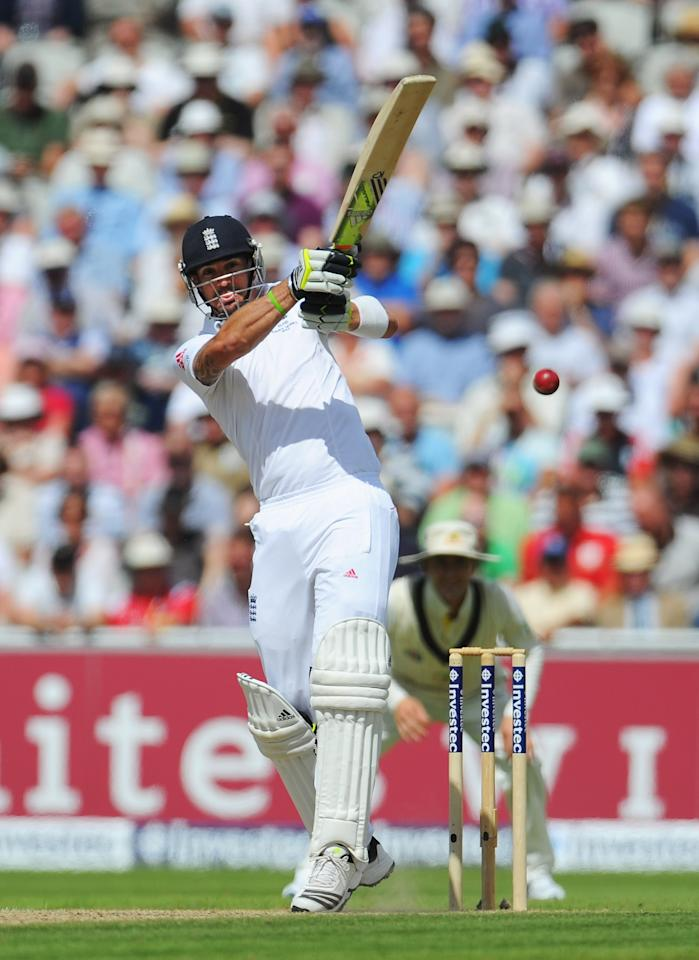 MANCHESTER, ENGLAND - AUGUST 03: Kevin Pietersen of England hits out during day three of the 3rd Investec Ashes Test match between England and Australia at Emirates Old Trafford Cricket Ground on August 3, 2013 in Manchester, England. (Photo by Stu Forster/Getty Images)