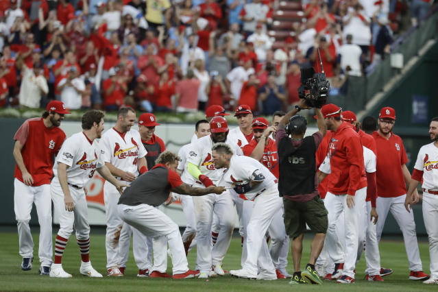 St. Louis Cardinals' Yadier Molina (4) celebrates with the team after hitting a sacrifice fly to score Kolten Wong and defeat the Atlanta Braves in Game 4 of a baseball National League Division Series, Monday, Oct. 7, 2019, in St. Louis. (AP Photo/Charlie Riedel)