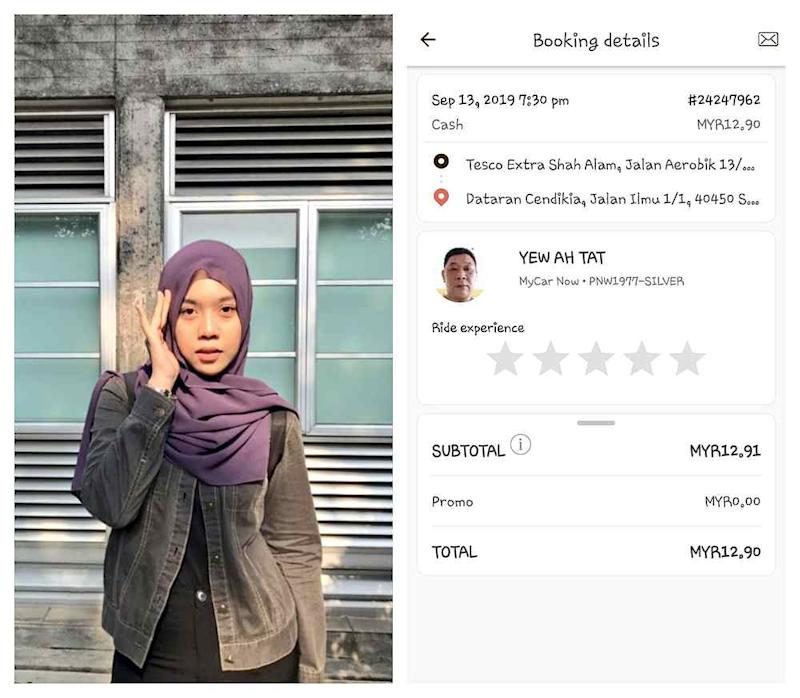 Compassionate driver Yew Ah Tat gave law student Ninie Kamarudinn a free ride and even bought her food after she lost RM50. — Picture from Twitter/@niniekamarudinn