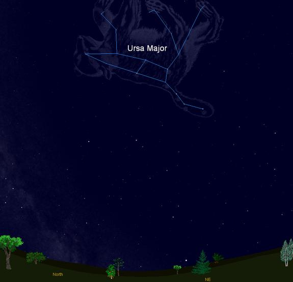This sky map shows the location of Ursa Major, the constellation containing the well known Big Dipper star pattern, as it appears in the late April night sky at mid-northern latitudes.