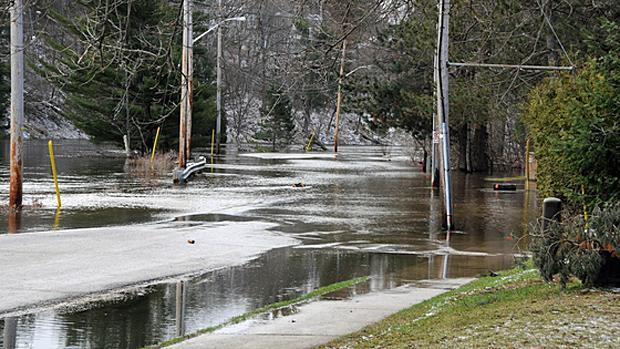 The Muskoka River submerges the aptly-named River Road near downtown Bracebridge, Ont., on April 20.