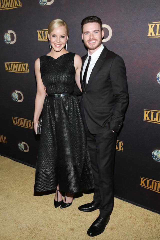 "NEW YORK, NY - JANUARY 16: Abbie Cornish (L) and Richard Madden attend the ""Klondike"" series premiere at Best Buy Theater on January 16, 2014 in New York City. (Photo by Rob Kim/Getty Images)"