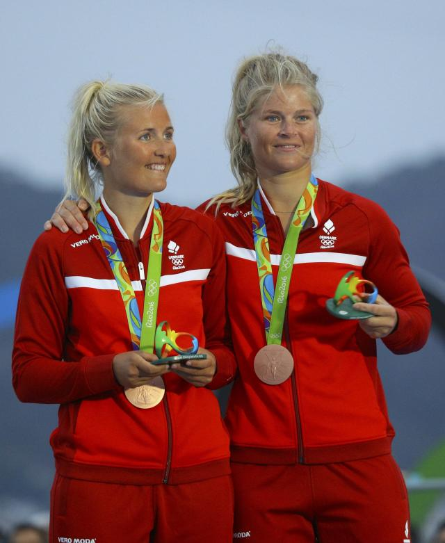 2016 Rio Olympics - Sailing - Victory Ceremony - Women's Skiff - 49er FX - Victory Ceremony - Marina de Gloria - Rio de Janeiro, Brazil - 18/08/2016. Jena Hansen (DEN) of Denmark and Katja Salskov-Iversen (DEN) of Denmark pose with their bronze medals. REUTERS/Brian Snyder FOR EDITORIAL USE ONLY. NOT FOR SALE FOR MARKETING OR ADVERTISING CAMPAIGNS.