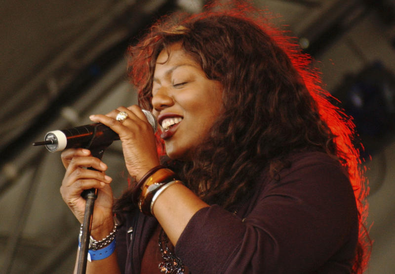 EASTNOR, ENGLAND - AUGUST 5: Denise Johnson of A Certain Ratio performs on the Open Air stage during the first day of the Big Chill music festival at Eastnor Castle Deer Park in the Malvern Hills on August 5, 2005 in Herefordshire, England. (Photo by Jim Dyson/Getty Images)