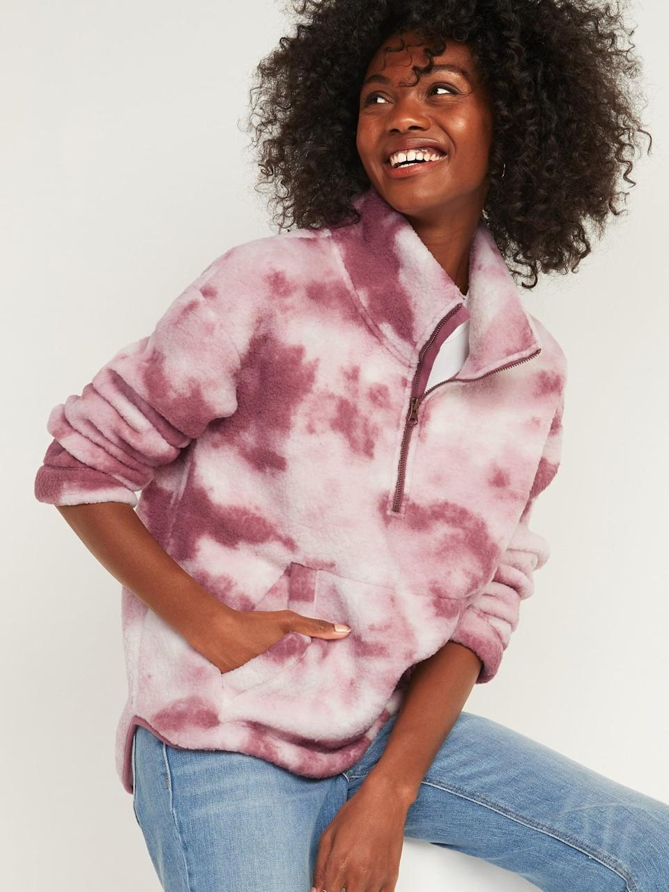 <p>Going on a run? This <span>Cozy Sherpa Half-Zip Sweatshirt</span> ($25, originally $35) will have you covered.</p>