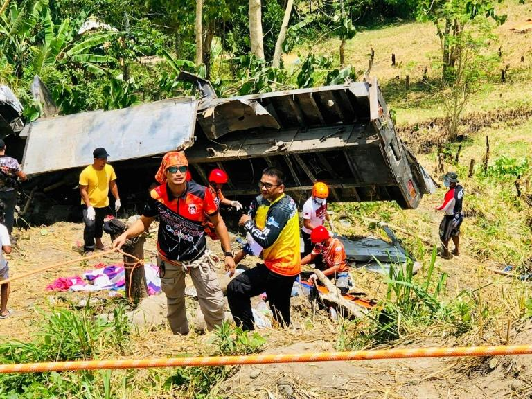 In the Philippines' latest deadly crash, the driver of a vehicle bringing home about 30 people lost control near the town of T'boli (AFP Photo/Michael Acas)