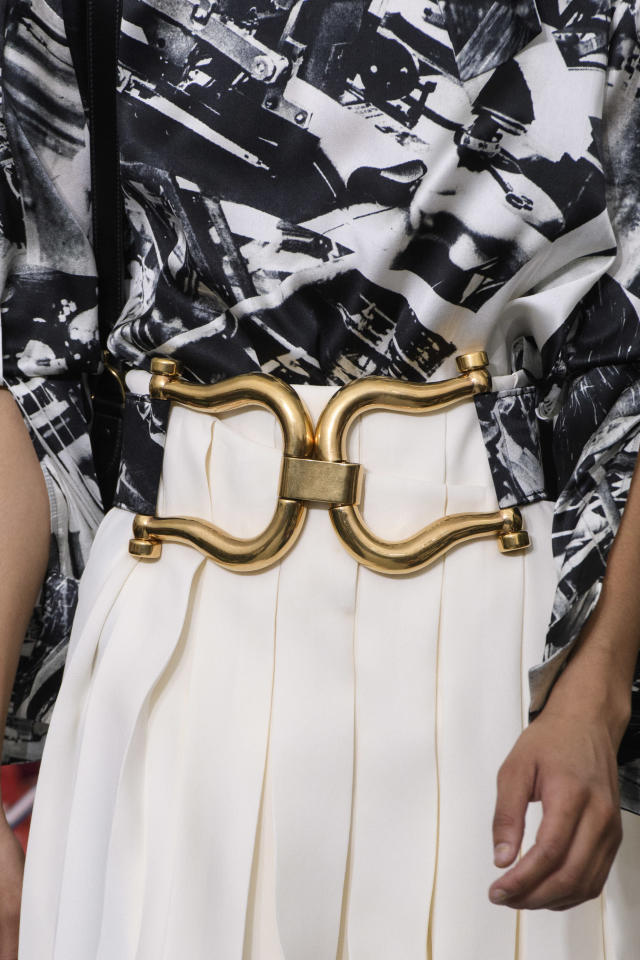 <p><i>Oversized gold statement belt from the SS18 Céline collection. (Photo: ImaxTree) </i></p>