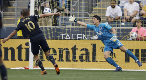 Philadelphia Union's Borek Dockal (10) scores a goal past Vancouver Whitecaps' Brian Rowe (12) during the second half of an MLS soccer match, Saturday, June 23, 2018, in Chester, Pa. Philadelphia won 4-0. (AP Photo/Matt Slocum)