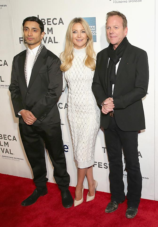 "NEW YORK, NY - APRIL 22: (L-R) Actors Riz Ahmed, Kate Hudson and Kiefer Sutherland attend the ""Reluctant Fundamentalist"" US Premiere during the 2013 Tribeca Film Festival on April 22, 2013 in New York City. (Photo by Neilson Barnard/Getty Images for Tribeca Film Festival)"