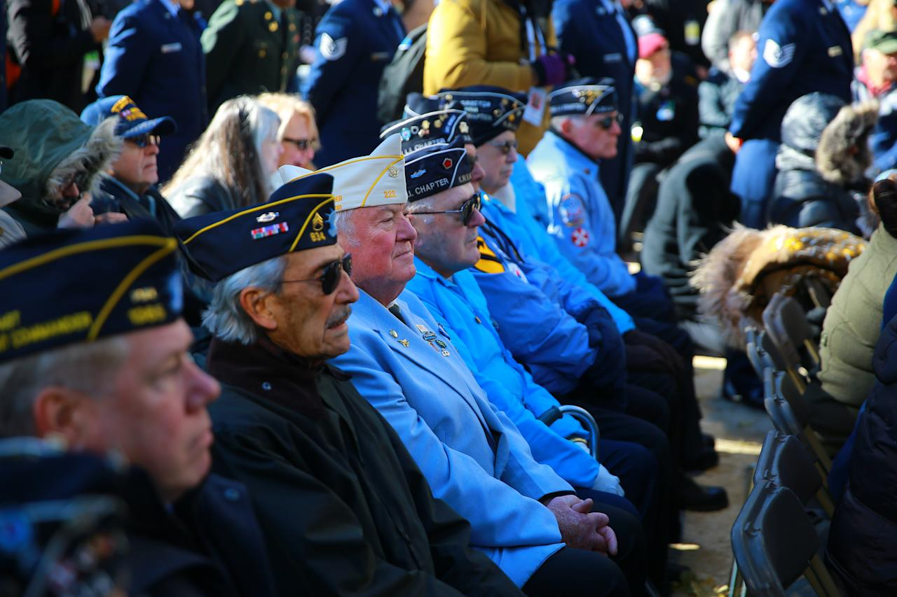 <p>Veterans await the start of a ceremony in Madison Square Park before the Veterans Day parade in New York City on Nov. 11, 2017. (Photo: Gordon Donovan/Yahoo News) </p>