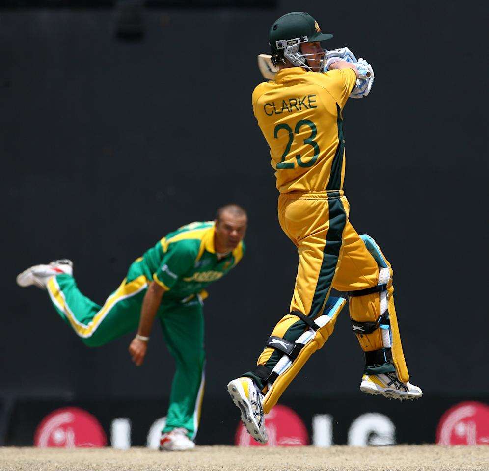 BASSETERRE, ST KITTS AND NEVIS - MARCH 24:  Michael Clarke of Australia plays a shot off the bowling of Charl Langeveldt of South Africa during the ICC Cricket World Cup 2007 Group A match between Australia and South Africa at Warner Park on March 24, 2007 in Basseterre, St Kitts and Nevis.  (Photo by Shaun Botterill/Getty Images)