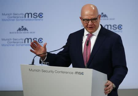 FILE PHOTO - U.S. National Security Adviser H.R. McMaster talks at the Munich Security Conference in Munich, Germany, February 17, 2018. REUTERS/Ralph Orlowski