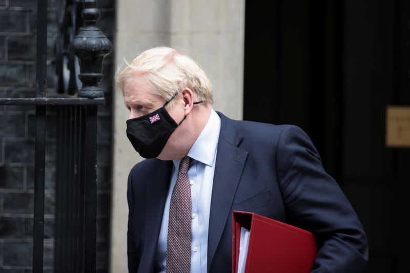 Britain's PM Johnson leaves Downing Street in London