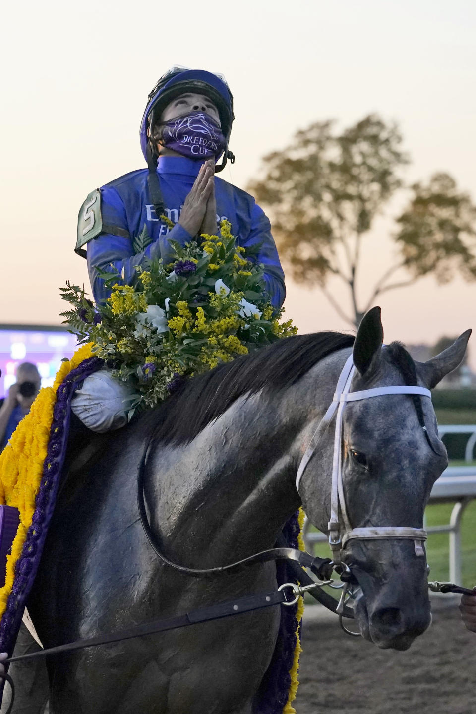 Jockey Luis Saez celebrates aboard Essential Quality as they are led to the winner's circle after winning the Breeders' Cup Juvenile horse race at Keeneland Race Course, Friday, Nov. 6, 2020, in Lexington, Ky. (AP Photo/Michael Conroy)