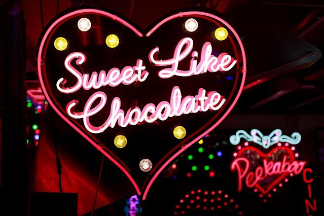 <p>A neon sign that reads 'Sweet Like Chocolate' is exhibited in God's Own Junkyard gallery, cafe and workshop in London, Britain, May 13, 2017. (Photo: Russell Boyce/Reuters) </p>