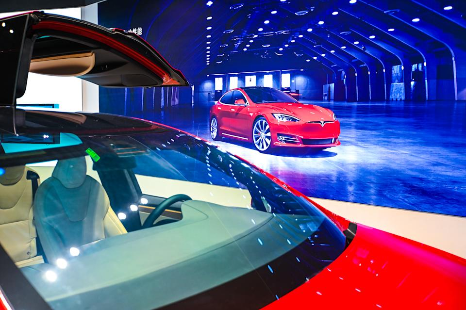 SHANGHAI, CHINA - JANUARY 04: A Model X vehicle is seen at a Tesla flagship store on January 4, 2021 in Shanghai, China. (Photo by Gao Yuwen/VCG via Getty Images)