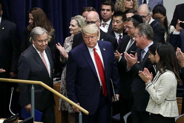 PHOTO: United Nations Secretary General Antonio Guterres and President Donald Trump arrive for a meeting on religious freedom at U.N. headquarters on Sept. 23, 2019, in New York. (Drew Angerer/Getty Images)