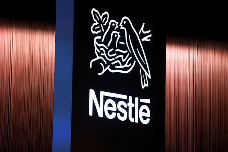 FILE PHOTO: The Nestle logo is seen during the opening of the 151st Annual General Meeting of Nestle in Lausanne