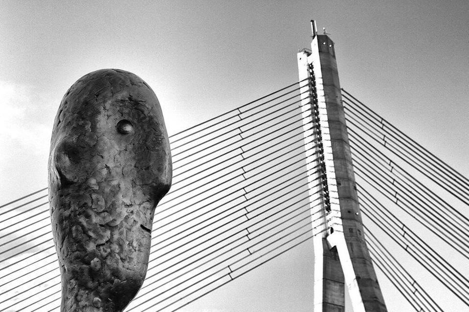 <p>Riga's 'Tower Counter' statue keeps watch over the city's cable bridge. (Oleg Dashkov) </p>