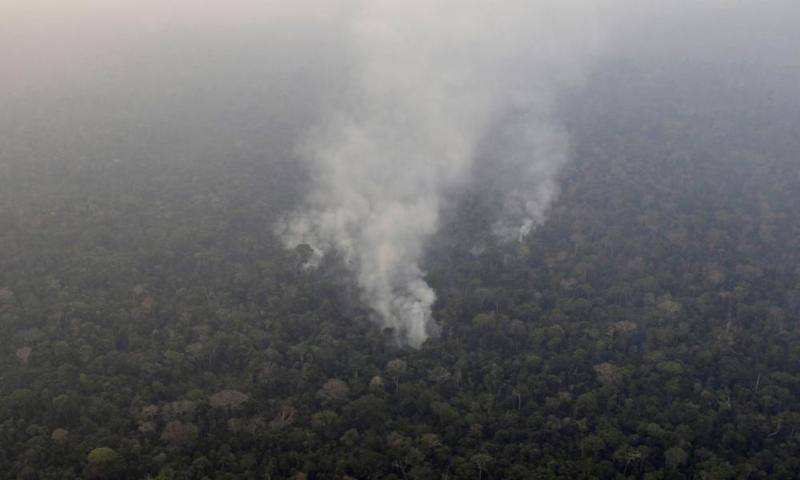 Smoke billows from a fire in an area of the Amazon near Porto Velho.